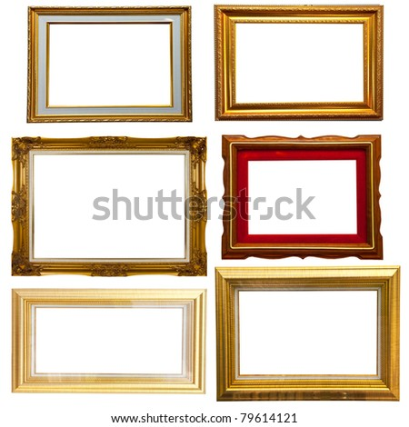 Set of gold classic wood frame isolate - stock photo