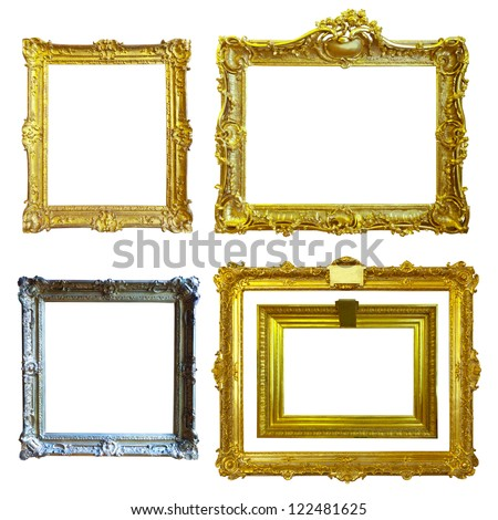 Set of 5 gold frames. Isolated over white background with clipping path