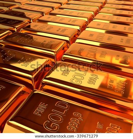 Set of gold ingots. 3D illustration, render - stock photo