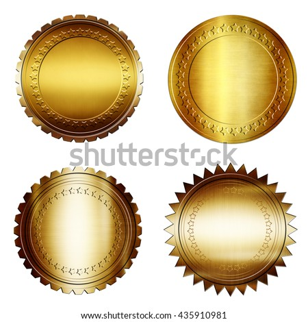Set of Gold Label Template,Golden seal - on isolated background,Round golden medal,golden blank label,gold metal plate - stock photo