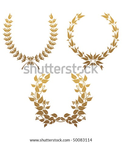 Set of gold laurel wreaths for design. Vector version is also available   - stock photo