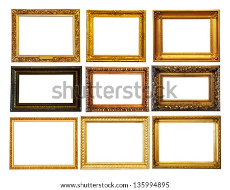 Set of  gold picture frames. Isolated over white background with clipping path