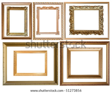 Set of  10 gold picture frames, isolated with clipping path - stock photo