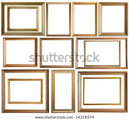 Set of 14 gold picture frames, isolated with clipping path - stock photo