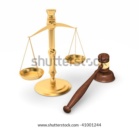set of gold scales and court gavel depicting justice isolated on white - stock photo