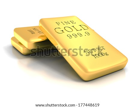 Set of gold shiny bullion bars on white reflection background. realistic 3d render illustration. welth tresure business concept - stock photo