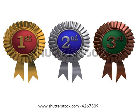 Set of gold, silver and bronze medals on white background - stock photo