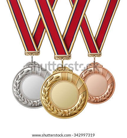 Set of gold, silver and bronze medals with  ribbons isolated on white background. - stock photo