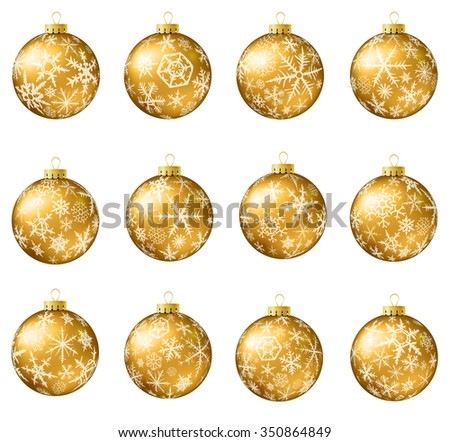 Set of gold vector Christmas balls with snowflakes ornament. Raster version. - stock photo