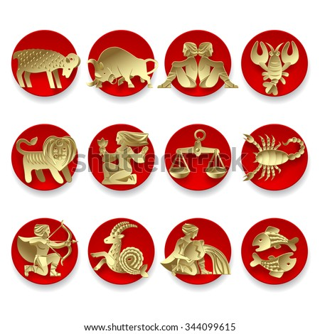 Set of gold zodiacal signs with figure on red circles. Original design - stock photo