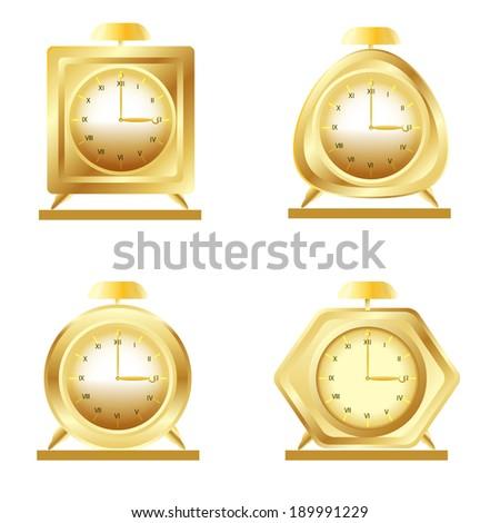 set of golden alarm clocks on white background raster - stock photo