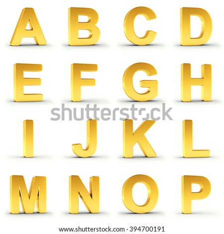 Set of golden alphabet from A to P over white background with clipping path for each item for fast and accurate isolation. - stock photo