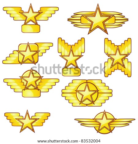 Set of golden badges with stars and wings