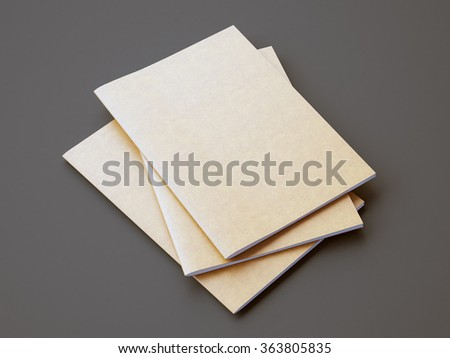 Set of golden color notebooks on the gray background. Horizontal. 3d render - stock photo