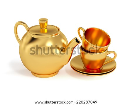 Set of golden cups and teapot isolated on white background  - stock photo