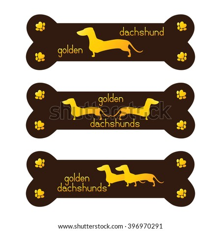 Set of golden dachshund kennel logo template. Golden dachshunds inside brown bone, lettering my golden dachshund and paw prints isolated on white background. Logo template, design element - stock photo