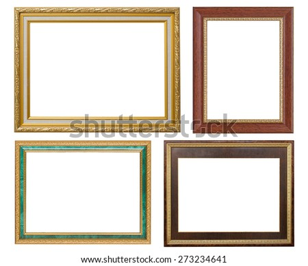Set of golden frame and wooden vintage isolated on white background.