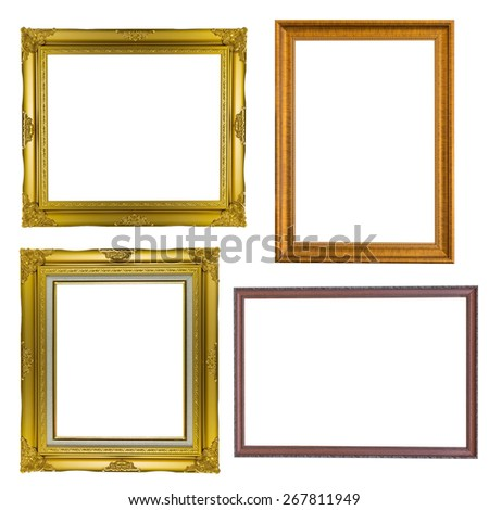 Set of golden frame vintage antique isolated on white background.