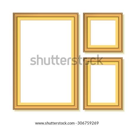 set of golden frames. raster illustration - stock photo