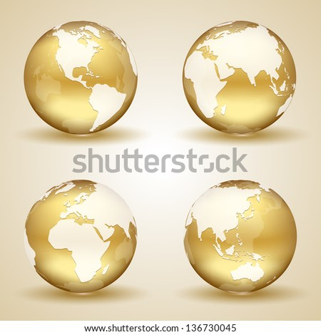 Set of golden globes on beige background, illustration.