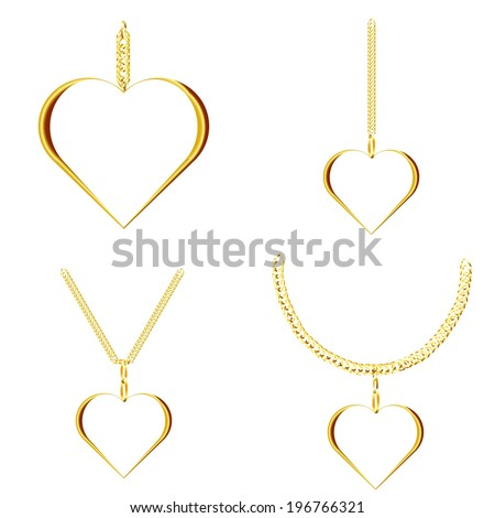set of golden icons golden heart golden pendant isolated on white background raster - stock photo