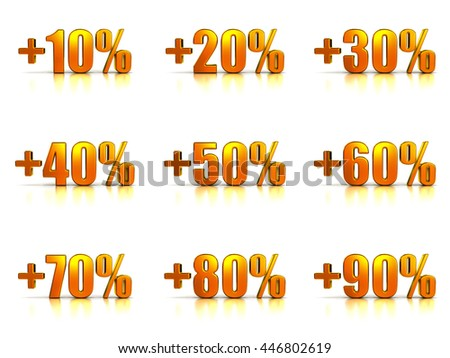 Set of Golden Percent Tags for Sales and Discounts. Numbers Ten, Twenty, Thirty, Forty, Fifty, Sixty, Seventy, Eighty, Ninety. 3D illustration