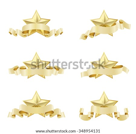 set of golden realistic stars with ribbons on white. JPG version