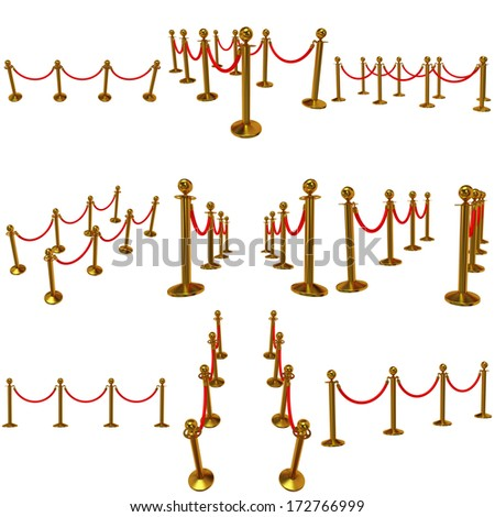 Set of golden rope barrier - 3d render. Fence with red rope isolated on white. Luxury, VIP concept - stock photo