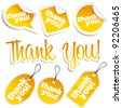 Set of Golden Shiny Thank You Stickers and Tags - stock photo