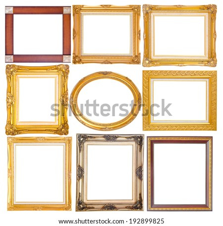 Set of golden vintage frame isolated on white background, clipping path