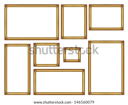 Set of golden vintage frame isolated on white background, with clipping path