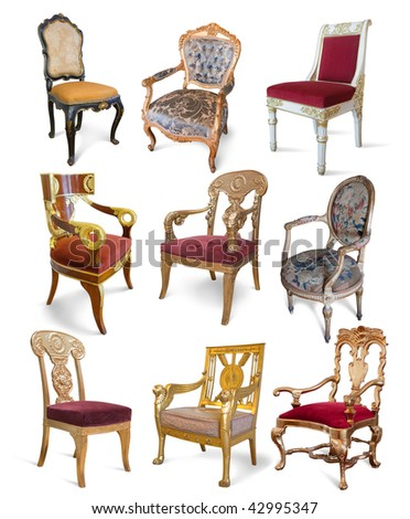 Set of golden vintage luxury chairs over white - stock photo