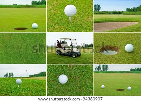Set of golf balls, golf course and golf car. - stock photo