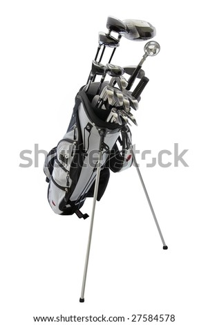 Set of golf clubs and bag - stock photo
