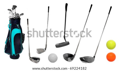 Set of golf clubs and bag with balls. - stock photo