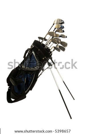 Set of Golf clubs on white background, including irons, metal woods and a putter in a golf bag - stock photo