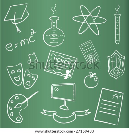 Set of graduation icons in doodle chalk style on a green black board. - stock photo