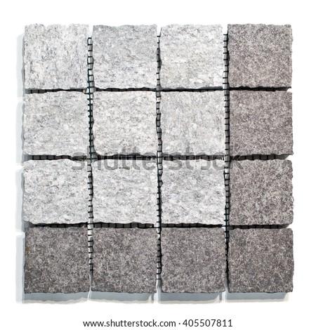 Set of granite paving stones on a white background - stock photo