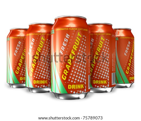 Set of grapefruit soda drinks in metal cans - stock photo