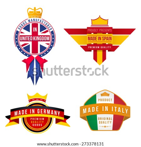 set of graphics made in united kingdom germany spain italy badges - stock photo