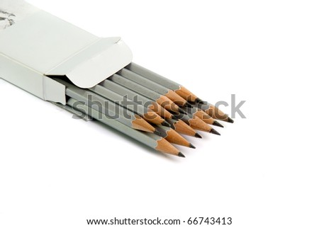 set of graphite pencils on white background - stock photo