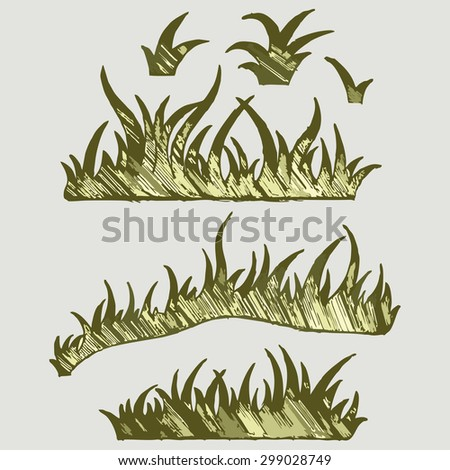 Set of grass in different compositions. Raster version - stock photo
