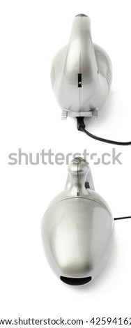 Set of Gray Hand held small vacuum cleaner isolated over the white background - stock photo