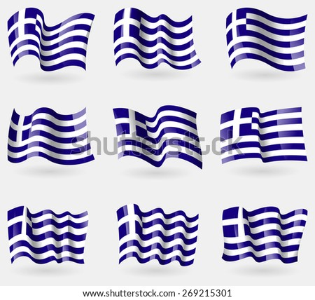Set of Greece flags in the air.  illustration - stock photo
