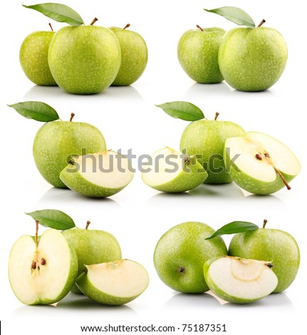 Set of green apple fruits with leaf isolated on white background - stock photo