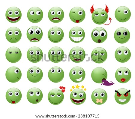 Set of green emoticons. - stock photo