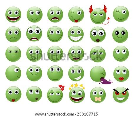 Set of green emoticons. - stock photo