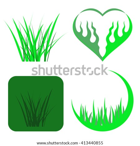 Set of Green Grass Icons Isolated on White Background - stock photo