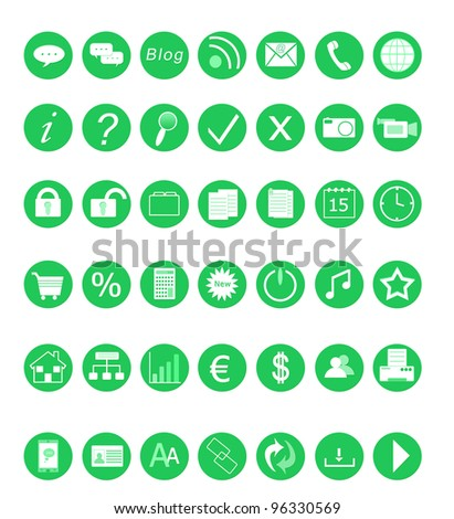 Set of green icons for the Web