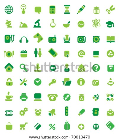 Set of 72 green icons. Raster version. Vector version is also available. - stock photo